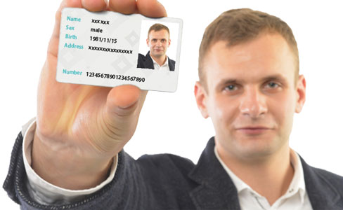 Identification card and a big vivid photo where the person is reflected together or big vivid image